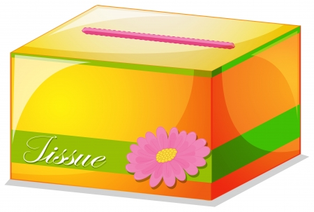 Illustration of a colorful tissue box on a white background