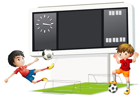 boys soccer: Illustration of the two boys playing soccer with a scoreboard on a white background