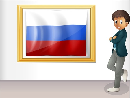 picutre: Illustration of a man beside the framed flag of Russia on a white background