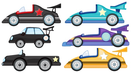 cars race: Illustration of the six different styles of toy cars on a white background Illustration