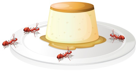 flan: Illustration of a leche flan in a plate with four ants on a white background Illustration