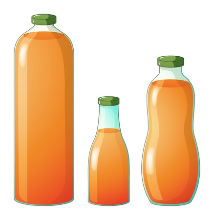 vial: Illustration of the three different sizes of bottles with orange juice on a white background