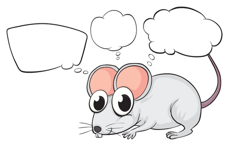 Illustration of a white mouse with empty callouts on a white background Stock Vector - 18287948