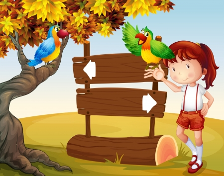 Illustration of a young girl and her parrots beside the signboard Vector