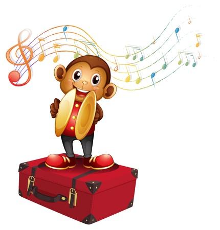Illustrazione di una scimmia gioco cembali sopra una valigetta su uno sfondo bianco Vettoriali