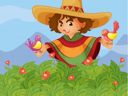 poncho: Ilustraci�n de un ni�o en el jard�n con dos p�jaros