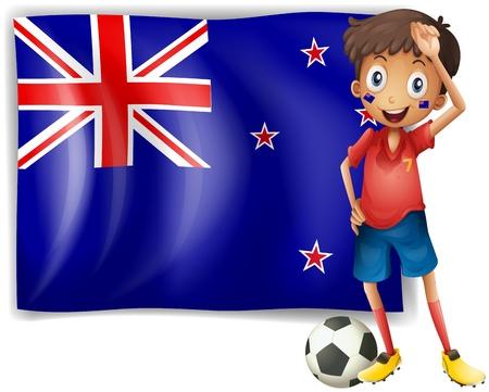 new zealand flag: Illustrazione di un ragazzo accanto a una bandiera della Nuova Zelanda su sfondo bianco
