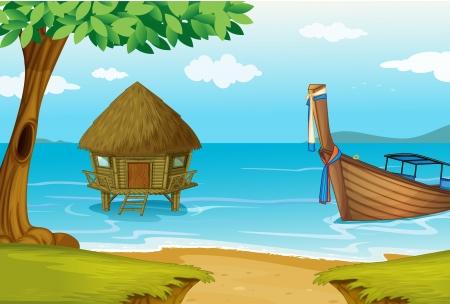 Illustrazione di una spiaggia con un cottage e una barca di legno