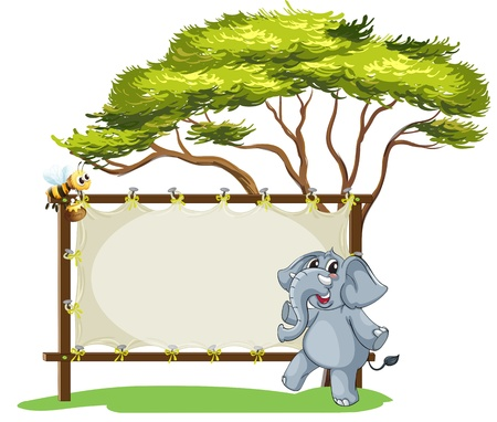 Illustration of an elephant beside an empty framed signage on a white background Vector