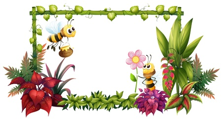 pic: Illustration of the bees with flowers on a white background