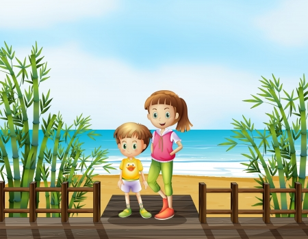 Illustration of a young boy and a girl at the bridge near the beach Vector