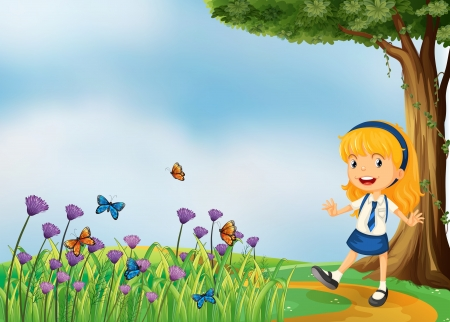 Illustration of a young school girl in the garden with butterflies Stock Vector - 18287747