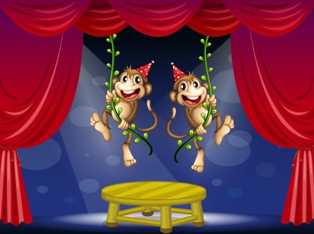 Illustration of the two monkeys performing at the stage Vector