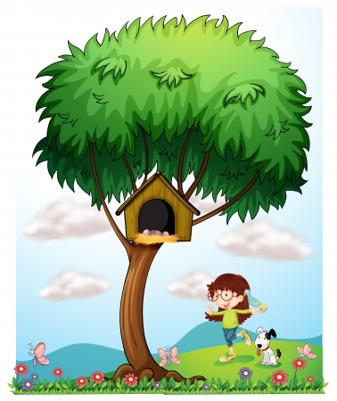 Illustration of a girl with her pets in the garden