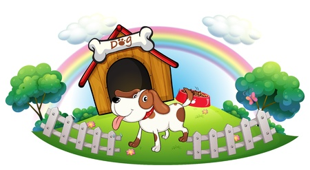 doghouse: Illustration of a doghouse inside the fence with a puppy on a white background