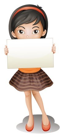 child holding sign: Illustration of girl holding an empty piece of paper on a white background