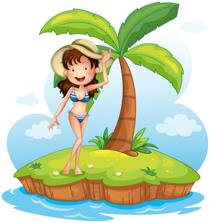coconut tree: Illustration of a girl wearing a bikini with a hat in front of a coconut tree on a white background