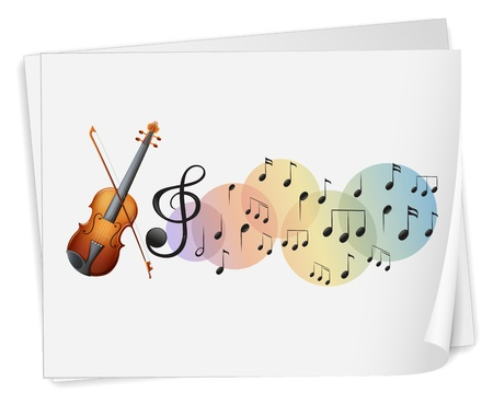 Illustration of a violen printed on a paper with musical notes on a white background Vector