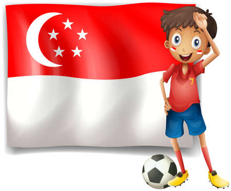 Illustration of a soccer player beside the flag of Singapore on a white background Stock Photo - 18287633