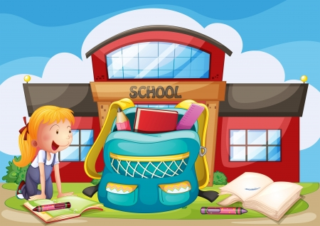 pic: Illustration of a girl with her school supplies in front of the school building Illustration