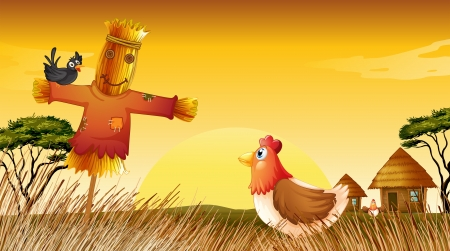 Illustration of a chicken with a scarecrow and a black bird at the field Vector