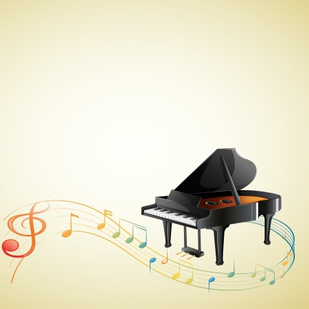 piano key: Illustration of a piano with a G-clef and musical notes on a white background