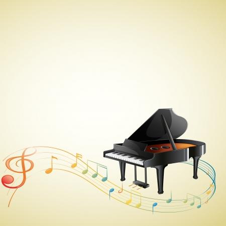 piano de cola: Ilustración de un piano con algunas notas G-clef y musicales sobre un fondo blanco