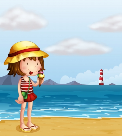 ice: Illustration of a young girl eating an icecream at the seashore