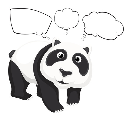Illustration of a giant panda with empty callouts on a white background Vector