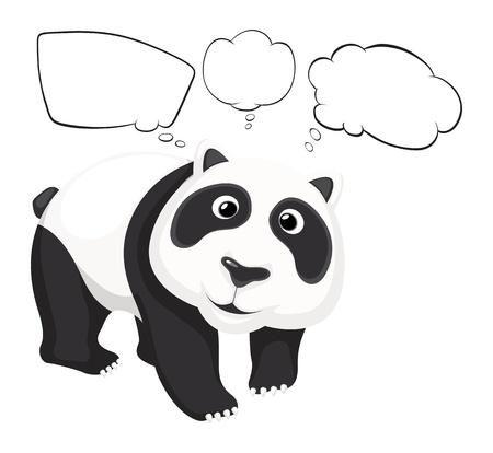 �  giant panda: Ilustraci�n de un panda gigante con llamadas vac�as sobre un fondo blanco