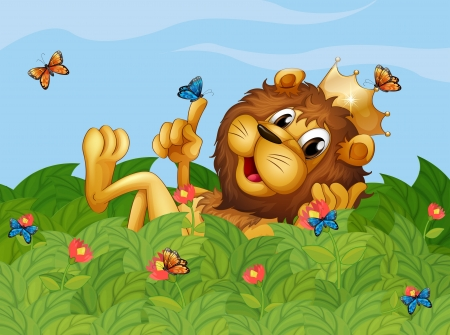 Illustration of a lion in the garden with butterflies Vector