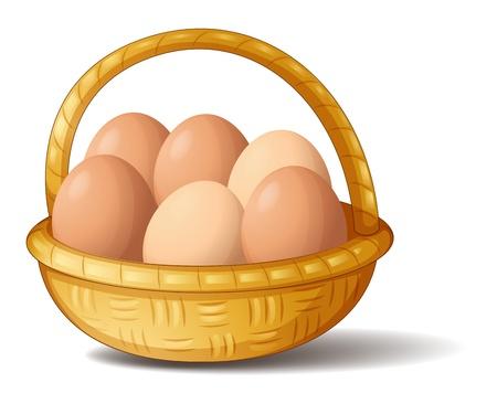 Illustratie van een mand met zes eieren op een witte achtergrond