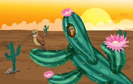 deserted: Illustration of a desert with cactus plants and birds