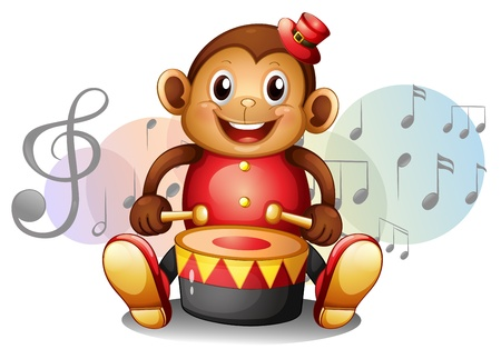 Illustration of a monkey playing with the drum on a white background