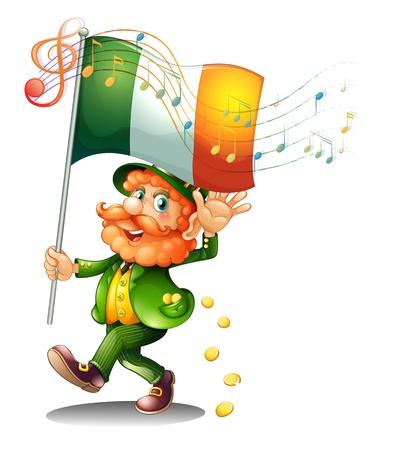 feast of saint patrick: Illustration of an old man holding the flag of Ireland on a white background Illustration