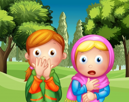 muslim girl: Illustration of the two shocked girls at the park