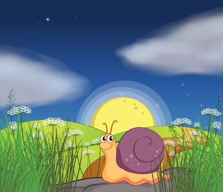 slug: Illustration of a snail at the hills in the middle of the night