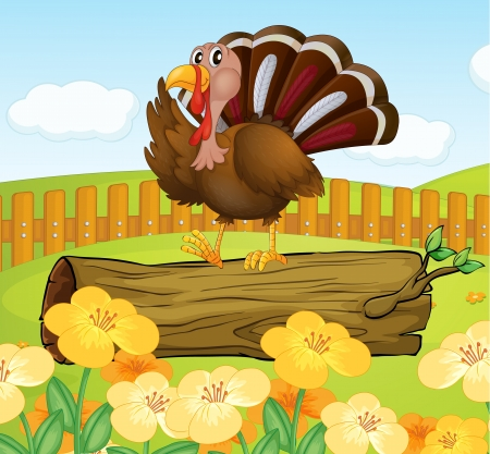Illustration of a turkey above the wood inside the fence Stock Vector - 18287717