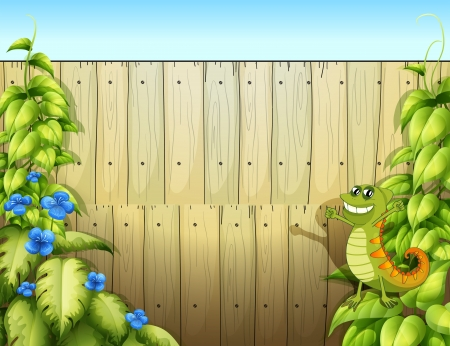 Illustration of a fence with a lizard Vector