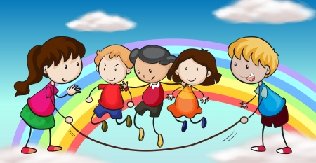 skip: Illustration of the five kids playing in front of a rainbow