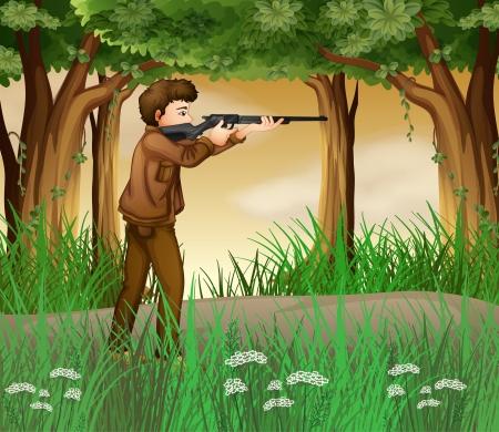 hunter man: Illustration of a hunter inside the jungle