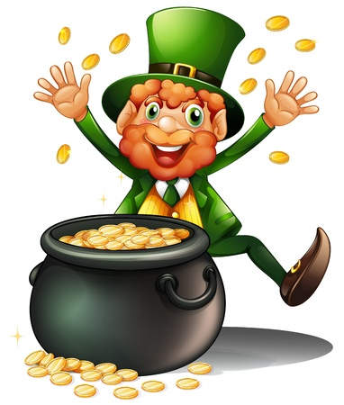 pot of gold: Illustration of an old man with a pot of coins on a white background Illustration
