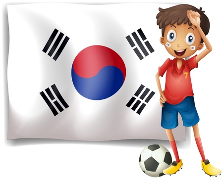 Illustration of a soccer player beside a Korean flag on a white background Stock Vector - 18287635