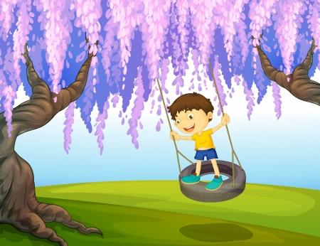 Illustration d'un petit garçon jouant dans le parc Vecteurs