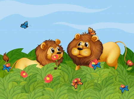 Illustration of the two lions in the garden with butterflies Stock Vector - 18287692