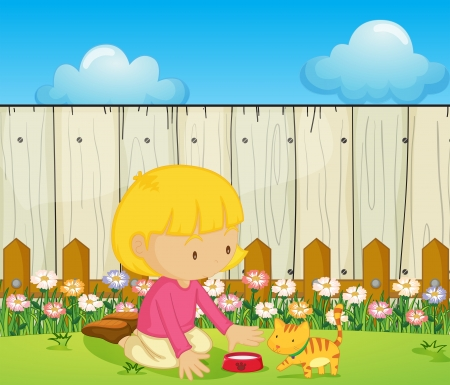 Illustration of a girl feeding the cat inside the fence Vector