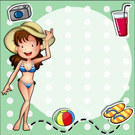 a thong: Illustration of a girl wearing a bikini with a hat