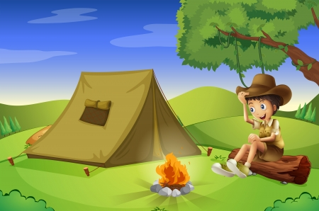 scout: Illustration of a boy with a tent and a camp fire