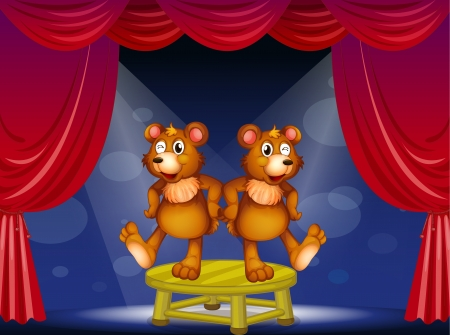 Illustration of the two bears above the table performing at the stage Vector