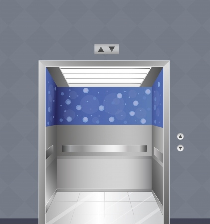 moving office: Illustration of an elevator in a building Illustration